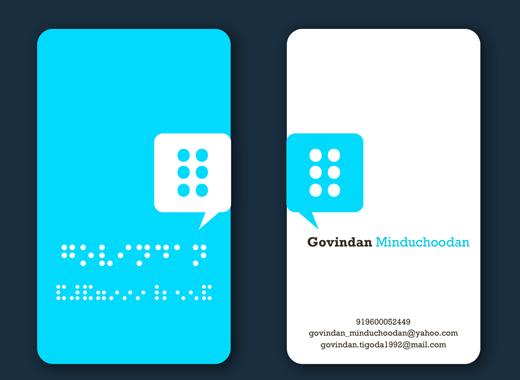 Oh, Nothing is impossible :D A Business card with the inscription of name and contact in braille form.